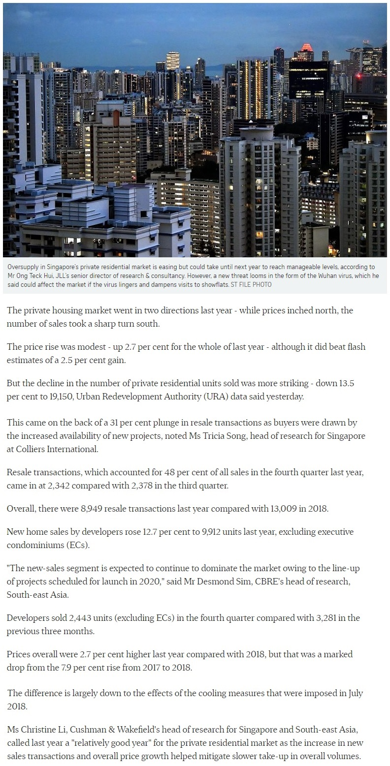 The Line @ Tanjong Rhu - Singapore private home prices inch up 2.7% for 2019 Part 1